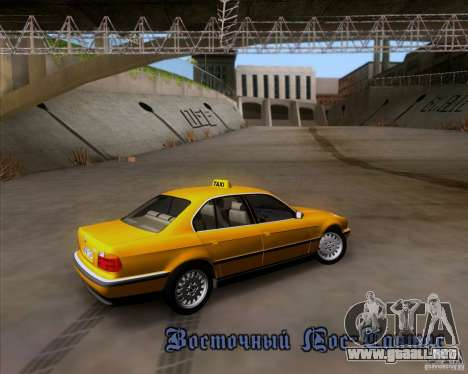 BMW 730i E38 1996 Taxi para la vista superior GTA San Andreas