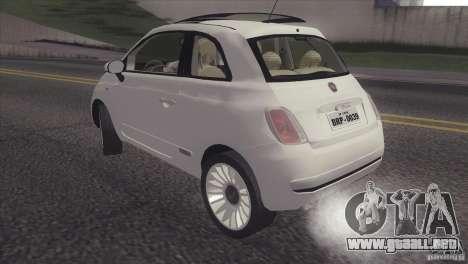 Fiat 500 Lounge 2010 para GTA San Andreas vista posterior izquierda