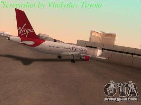 Airbus A320-211 Virgin Atlantic para GTA San Andreas vista hacia atrás