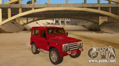 Land Rover Defender para GTA San Andreas vista hacia atrás