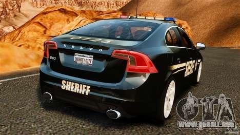 Volvo S60 Sheriff para GTA 4 Vista posterior izquierda