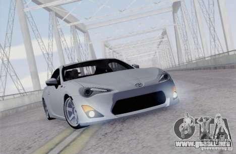 Toyota GT86 para GTA San Andreas vista hacia atrás