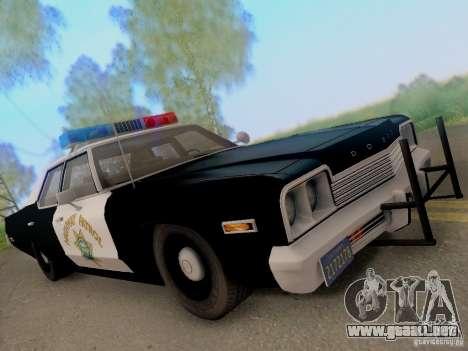 Dodge Monaco 1974 California Highway Patrol para GTA San Andreas vista hacia atrás