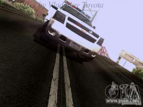 Chevrolet Avalanche 2007 para GTA San Andreas vista hacia atrás