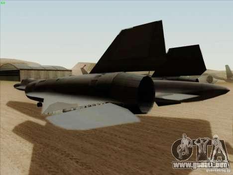 YF-12A para GTA San Andreas vista hacia atrás