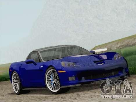 Chevrolet Corvette ZR1 para GTA San Andreas vista hacia atrás