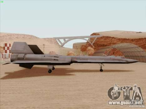 YF-12A para GTA San Andreas vista posterior izquierda