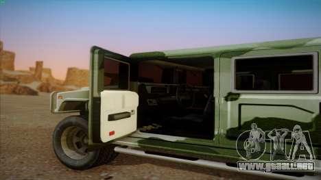 HD Patriot para GTA San Andreas vista hacia atrás