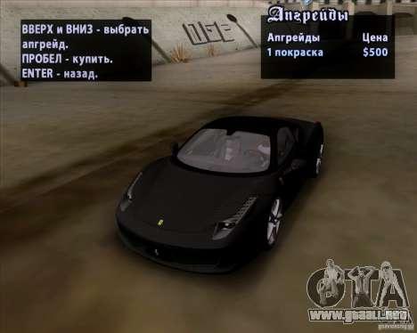 Ferrari 458 Italia V12 TT Black Revel para visión interna GTA San Andreas