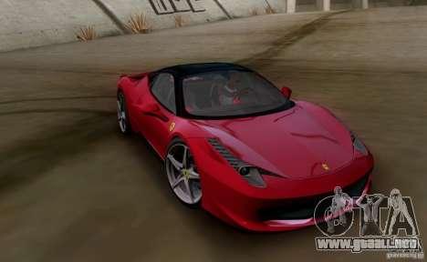 Ferrari 458 Italia V12 TT Black Revel para GTA San Andreas