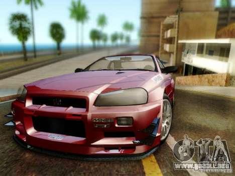 Nissan R34 Skyline GT-R para GTA San Andreas vista hacia atrás