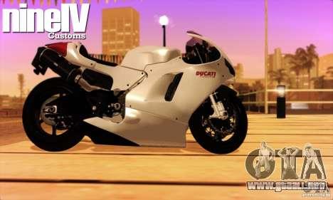 Ducati Desmosedici RR 2012 para GTA San Andreas vista posterior izquierda