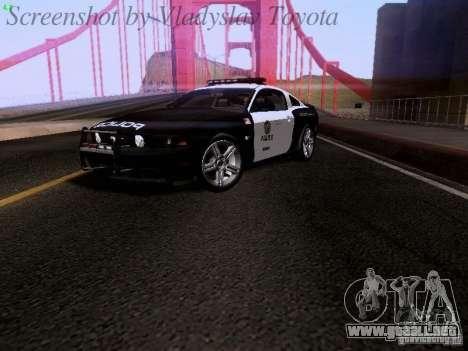 Ford Mustang GT 2011 Police Enforcement para GTA San Andreas vista posterior izquierda