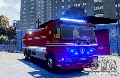 Mercedes-Benz Vanntankbil / Water Tanker para GTA 4 visión correcta
