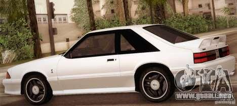 Ford Mustang SVT Cobra 1993 para vista inferior GTA San Andreas