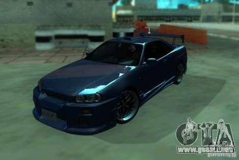 Nissan Skyline GT-R34 para la visión correcta GTA San Andreas
