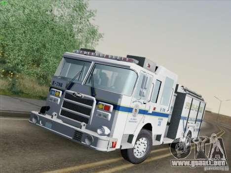 Pierce Pumpers. B.C.F.D. FIRE-EMS para GTA San Andreas vista posterior izquierda