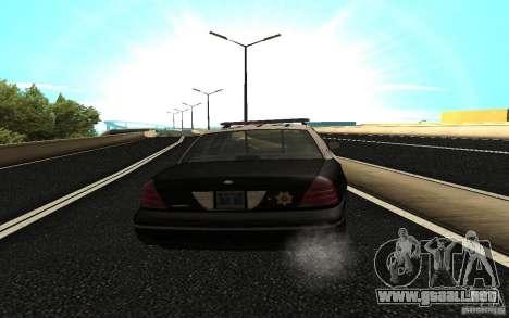 Ford Crown Victoria Police para GTA San Andreas vista posterior izquierda