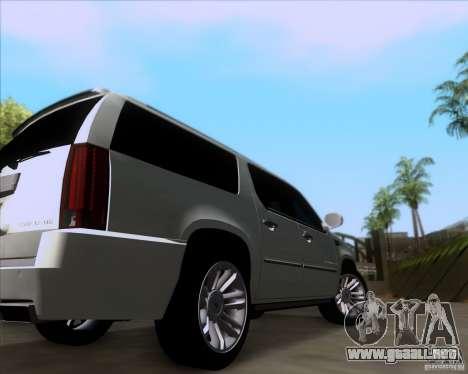 Cadillac Escalade ESV Platinum 2013 para GTA San Andreas vista hacia atrás