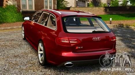 Audi RS4 Avant 2013 para GTA 4 Vista posterior izquierda