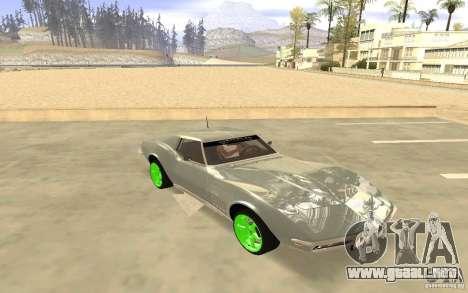Chevrolet Corvette Stingray Monster Energy para GTA San Andreas vista posterior izquierda