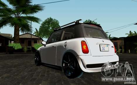 Mini Cooper S Tuned para GTA San Andreas vista hacia atrás