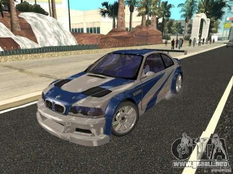 BMW M3 GTR de NFS Most Wanted para visión interna GTA San Andreas
