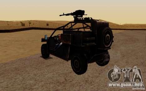 VDV Buggy de Battlefield 3 para GTA San Andreas vista posterior izquierda
