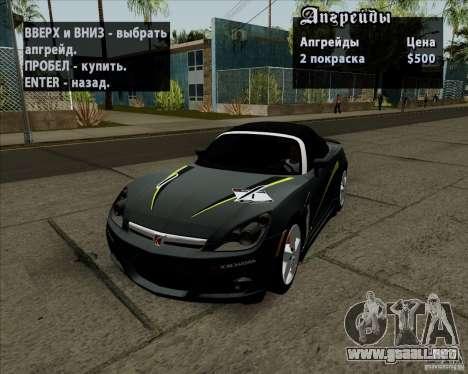 Saturn Sky Red Line 2007 v1.0 para visión interna GTA San Andreas