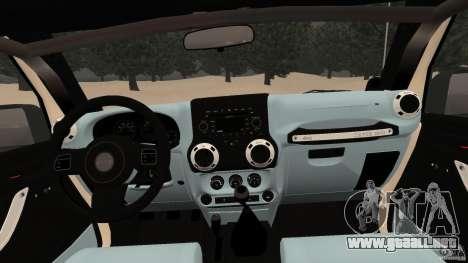 Jeep Wrangler Rubicon 2012 para GTA 4 vista hacia atrás