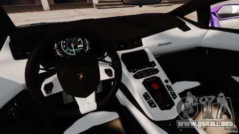 Lamborghini Aventador LP700-4 2012 Galag Gumball para GTA 4 vista hacia atrás