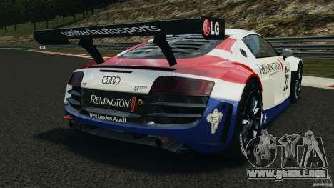 Audi R8 LMS para GTA 4 Vista posterior izquierda