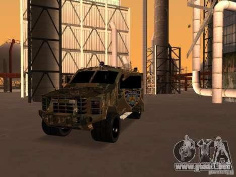 Lenco Bearcat NYPD para GTA San Andreas vista hacia atrás