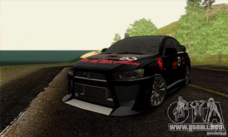 Mitsubishi Lancer Evolution X 2008 para la vista superior GTA San Andreas