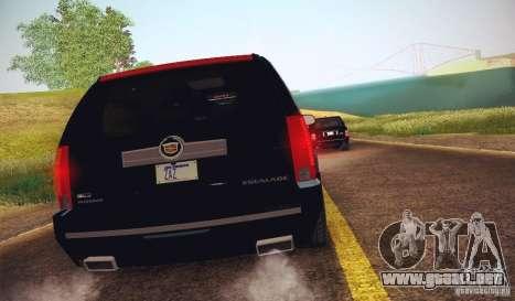 Cadillac Escalade ESV 2012 para GTA San Andreas vista posterior izquierda