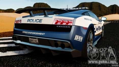 Lamborghini Gallardo LP570-4 Superleggera Police para GTA 4 Vista posterior izquierda