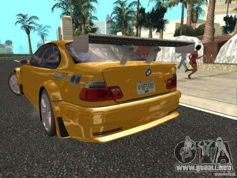 BMW M3 GTR de NFS Most Wanted para GTA San Andreas vista posterior izquierda