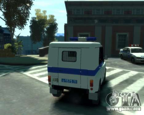 UAZ 31512 policía para GTA 4 vista hacia atrás