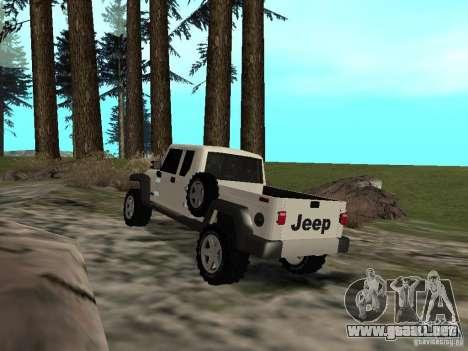 Jeep Gladiator para GTA San Andreas vista posterior izquierda
