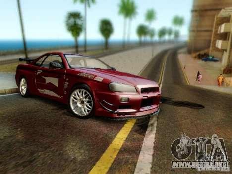 Nissan R34 Skyline GT-R para GTA San Andreas vista posterior izquierda