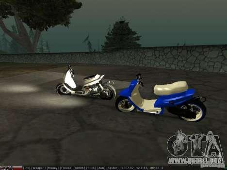 Yamaha Aerox para vista lateral GTA San Andreas