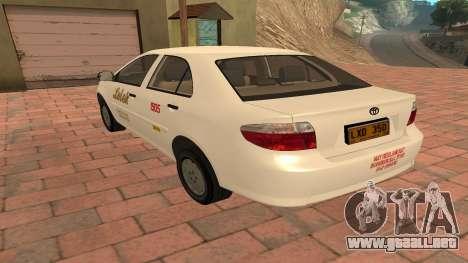 Toyota Corolla - LOLEK TAXI para GTA San Andreas vista posterior izquierda