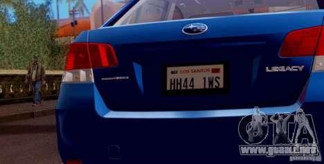 Subaru Legacy B4 2010 para el motor de GTA San Andreas