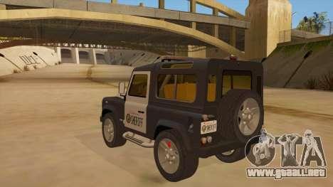 Land Rover Defender Sheriff para GTA San Andreas vista posterior izquierda