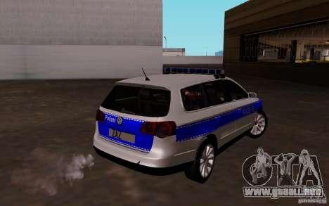 Volkswagen Passat B6 Variant Polizei para la visión correcta GTA San Andreas