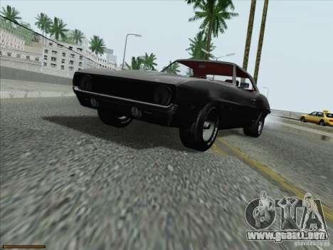 Chevrolet Camaro 1969 para GTA San Andreas vista posterior izquierda