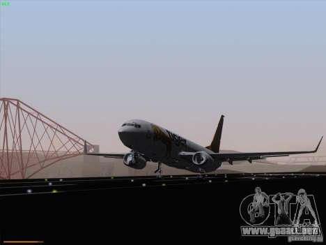 Boeing 737-800 Tiger Airways para GTA San Andreas vista posterior izquierda