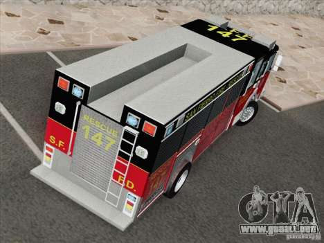Pierce SFFD Rescue para visión interna GTA San Andreas