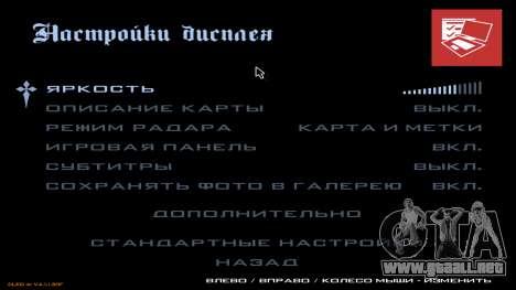 Nuevo menú de CatVitalio para GTA San Andreas octavo de pantalla