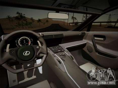 Lexus LFA Nürburgring Edition para visión interna GTA San Andreas